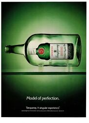 1990 Tanqueray Gin Green Bottle In A Bottle Ship Vintage Print Advertisement