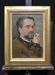 1940and039s French Post-impressionist Signed Oil - Portrait Of Man Smoking Pipe