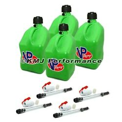 Vp Racing Green Square Fuel Jug Diesel Gas Can 4 Pack + 4 Deluxe Hoses Shut Offs