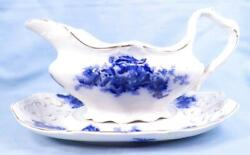 Mentone Flow Blue Gravy Boat And Underplate Johnson Brothers Sauce Antique