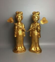 Chinese Rare Tang Dynasty Old Copper Handmade Gilded Women Maid