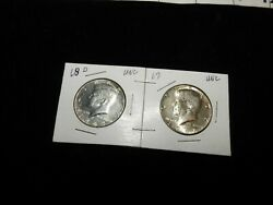2 Kennedy Silver Half Dollars, 1968 D And 1967 Unc