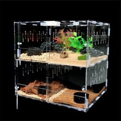 4 Grids Acrylic Pet Reptile Tank Insect Spiders Lizard Breeding Box Tortoise