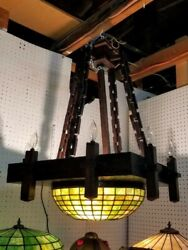 Monumental Arts And Crafts Mission Leaded W.b. Brown Hanging Lamp Fixture