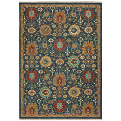 Tommy Bahama Blue Rings Loops Hoops Traditional-european Area Rug Floral 12307