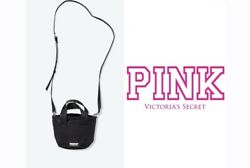 VICTORIA SECRET PINK CROSSBODY MINI BUCKET BAG BLACK NEW $17.99
