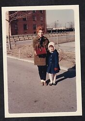 Old Vintage Photograph Mom And Little Girl Standing Outside Wearing Coats And Hats