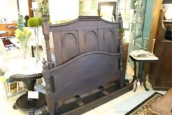Antique Painted Black Bed Full Headboard Footboard Rails Dental Molding Arches