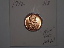 Wheat Penny 1932 High Grade Gem Red Bu 1932-p Lot 3 Great Red Unc Lincoln Cent