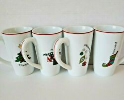 Fitz And Floyd Gourment Happy Holidays Coffee Mugs Set Of 4 Tall Latte Christmas