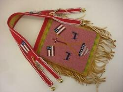 Native American Indian Crow Beaded Mirror Bag Brain Tanned Leather Fringe Flags
