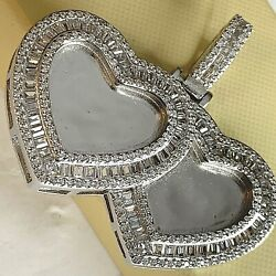 925 Sterling Silver Stamped Zc Picture Frame Pendant Double Heart