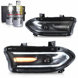 Free Shipping To Pr For Dodge 15-20 Charger Headlights W/drl Turn Sig+9005 Bulbs
