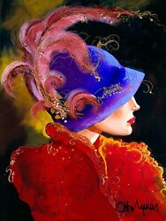 Angelika Is A Fully Hand Painted With Texture And Gold Leaf Giclee Reproduction