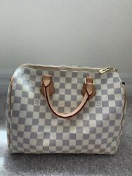 LOUIS VUITTON Damier Azur White Canvas Speedy 30 bagAuthentic Pre Owned $380.00
