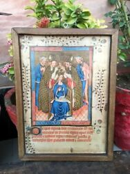 Antique Vintage Wooden Photograph Frame Of Crowning Queen Anne Of Bohemia