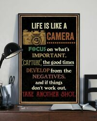 Life Is Like Camera Retro Black Poster Print 24x36 Inches Wall Art Vintage