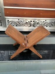 Antique Hand Carved Floral Wooden Hindu Brown Holy Book Stand Folding Holder