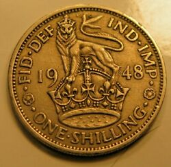 1948 Uk Great Britain 1 Shilling Coin.      4705