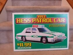 Vintage 1993 Hess Truck Toy Patrol Car Store Display Pump Topper Sign 18x12