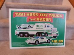 Vintage 1991 Hess Toy Truck And Racer Store Display Pump Topper Sign 18x12