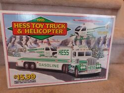 Vint. 1995 Hess Toy Truck And Helicopter Store Display Pump Topper Sign 18x12