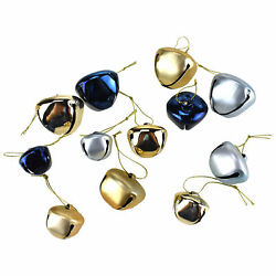 Glitter And Metallic Jingle Bell Ornaments, Navy Blue, Assorted Sizes, 39-piece