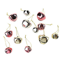 Glitter And Metallic Jingle Bell Ornaments, Pink, Assorted Sizes, 39-piece