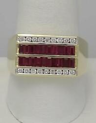 Mens 14k Yellow Gold Four Row 3/4ct Baguette Ruby 1/3ct Diamond Channel Set Ring