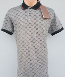 New Gucci Polo men#x27;s g models Fast Shipping 2 4 Days Color Gray Blue Brown $155.00