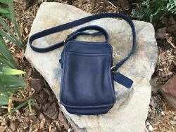 Vintage Coach Kit Camera Bag 9973 Blue Leather Crossbody Coach Purse Made in USA $88.00