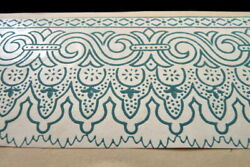 Antique C.1880 Victorian Hand Painted Wallpaper Trim Roombox Dollhouse