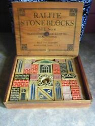 Very Rare Antique Ralite-stone Blocks Ralo Toy Co. Worc Ma 1919 Set 2 Wood Box