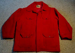 Late 1960s Label Vintage Red Wool Woolrich Hunting / Work Coat Size 46 Fair Cond