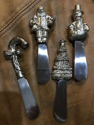 Set Of 4 Wallace Christmas Themed Cheese/pate Spreaders Silver Plated Heavy Duty