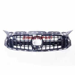 Front Bumper Middle Grille For Mercedes Amg Gt Coupe Two Doors 2017+ Gloss Black
