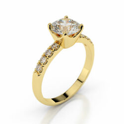Solitaire 18k Yellow Gold Round Cut Diamond Engagement Ring 1.30 Ct F/vs1