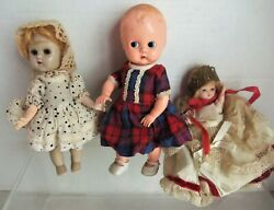 Lot Of 3 Vintage Hard Plastic Dolls, Ideal, Ginny, Hollywood - Fix Or Parts