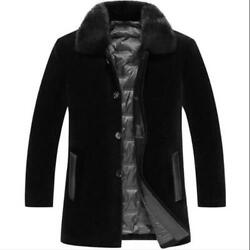 Menand039s Duck Down Lined Mink Fur Collar Business 100 Wool Mid Long Furry Coats L
