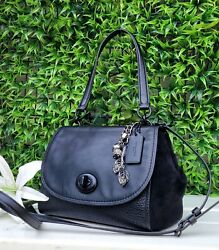 Coach Faye black satchel GLOVE BUFFALO mix leather purse 22348 shoulder handbag $129.00
