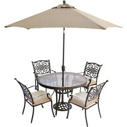Hanover Traditions5pc 4 Dining Chairs, 48 Round Glass Top Table, Umb, Base-...