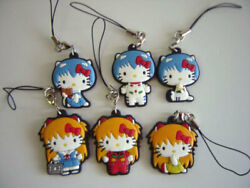Evangelion X Hello Kitty Rei Ayanami Asuka Langley Rubber Strap Lot 6 Complete