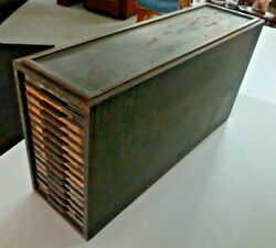 1917 Antique Kardex 14 Drawer Metal File Filing Cabinet. Very Heavy Duty.