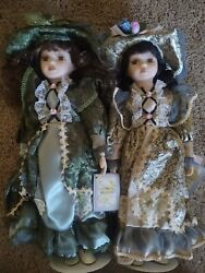 Cathy Collection Porcelain Doll Set Of 2 In Box Beautiful Dolls 16 In
