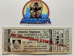 Full Vintage St. Louis Wrestling Ticket November 5, 1941 Lou Thesz French Angel