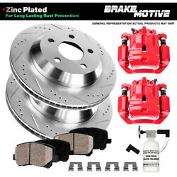 Rear Premium Red Calipers Drilled Rotors Brake Pads For - Left And Right