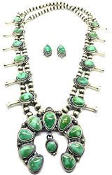 Native American Navajo Hand Made Sterling Silver Royston Turquoise Sqwash