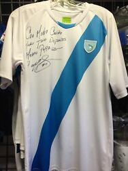 Guatemala White Blue Signed Soccer Classic Jersey 2015 Size S Mens Only
