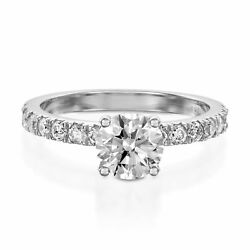1.75 Ct Certified Round Cut Diamond Engagement Ring 14k White Gold D/si1