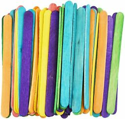 Wooden Lolly Pop Sticks Kids Craft Colored Rainbow Popsicle Crafts Sticks 4.5